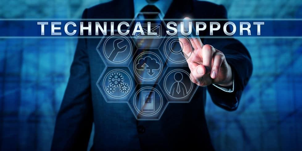 Technical manager is pressing technical support on an interactive touch screen monitor. business metaphor for customer experience management, outsourcing and managed services. it concept for tech help desk.